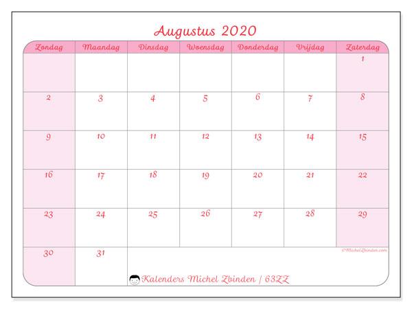 Kalender augustus 2020, 63ZZ. Maandkalender om gratis te printen.