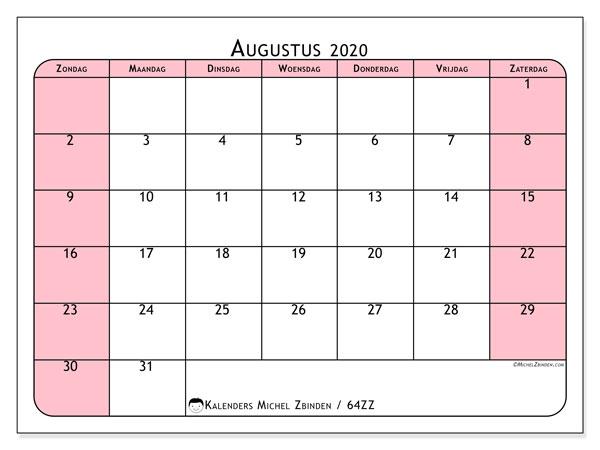 Kalender augustus 2020, 64ZZ. Kalender om gratis af te drukken.