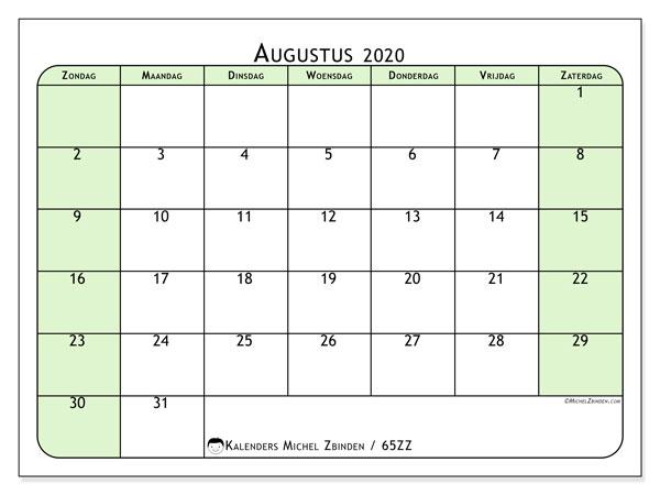 Kalender augustus 2020, 65ZZ. Gratis printbare kalender.