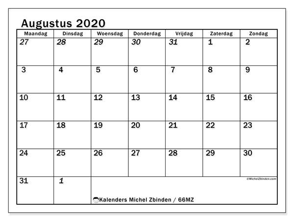 Kalender augustus 2020, 66MZ. Kalender om gratis af te drukken.