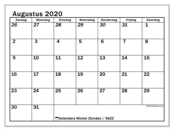 Kalender augustus 2020, 66ZZ. Kalender om gratis af te drukken.