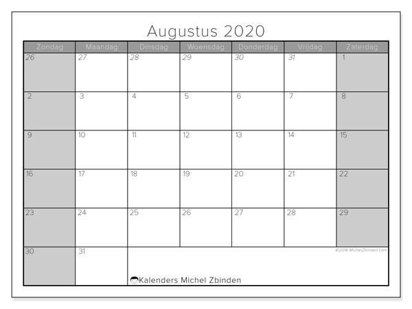 Kalender augustus 2020, 69ZZ. Maandkalender om gratis te printen.