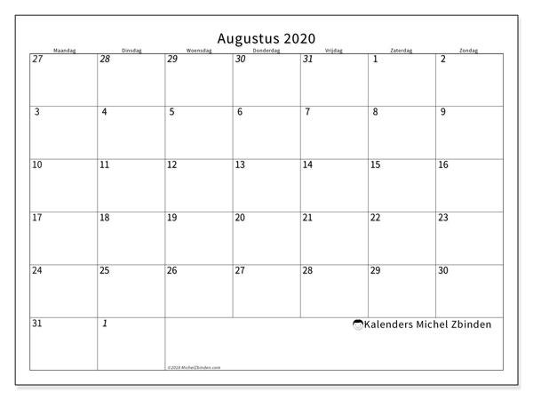Kalender augustus 2020, 70MZ. Agenda om gratis te printen.