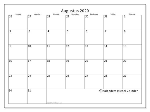 Kalender augustus 2020, 70ZZ. Kalender om gratis te printen.