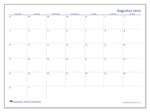 Kalender augustus 2020, 73MZ. Schema om gratis te printen.