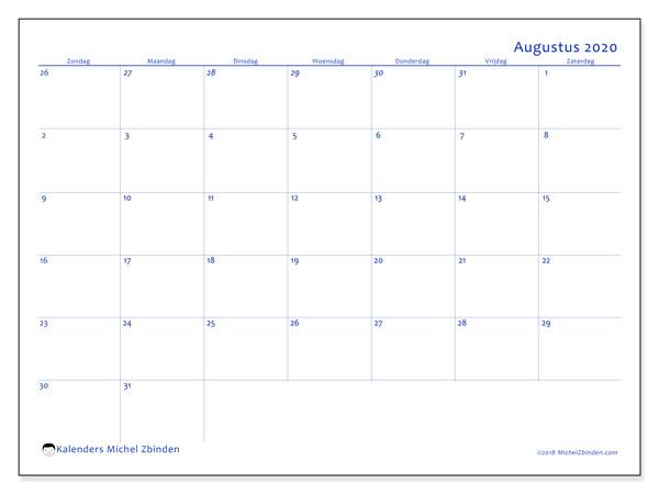 Kalender augustus 2020, 73ZZ. Kalender voor de maand die gratis moet worden afgedrukt.
