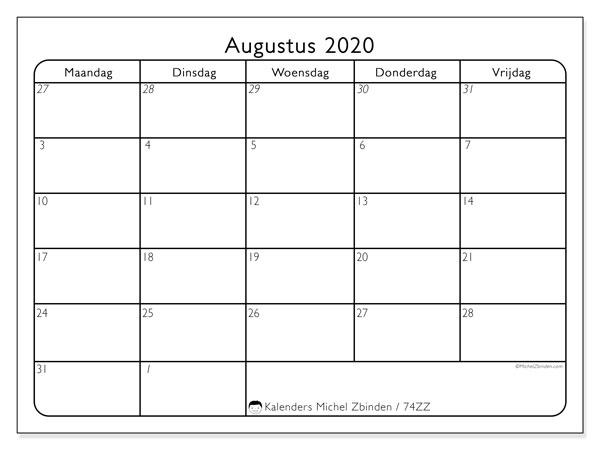 Kalender augustus 2020, 74ZZ. Kalender voor de maand die gratis moet worden afgedrukt.