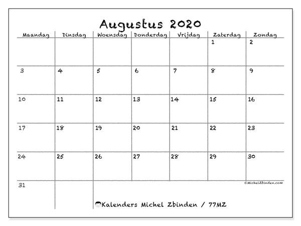 Kalender augustus 2020, 77MZ. Maandkalender om gratis te printen.