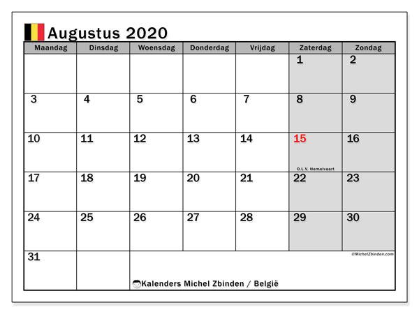 Kalender augustus 2020 met de feestdagen van België. Kalender voor de maand die gratis moet worden afgedrukt.