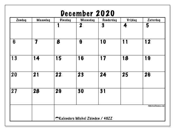 Kalender december 2020, 48ZZ. Schema om gratis te printen.