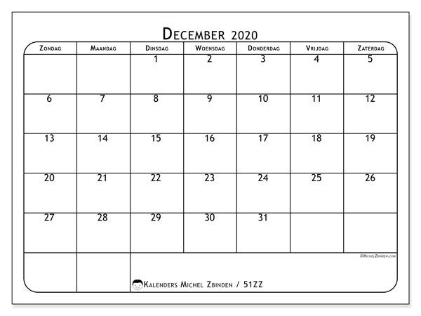 Kalender december 2020, 51ZZ. Gratis afdrukbare kalender.