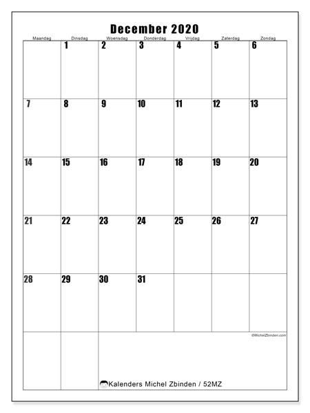 Kalender december 2020, 52MZ. Schema om gratis te printen.