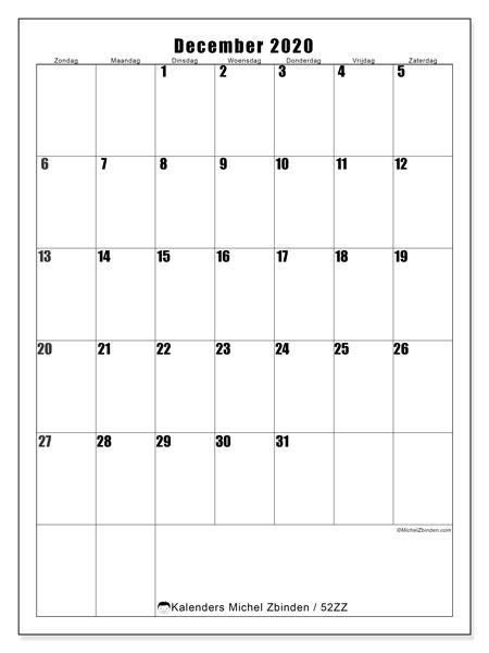 Kalender december 2020, 52ZZ. Kalender om gratis af te drukken.