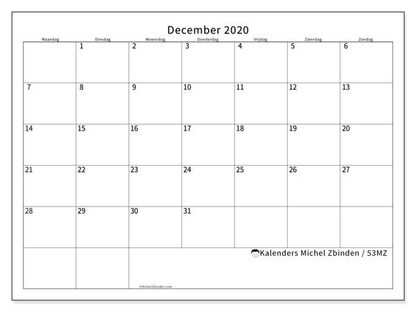 Kalender december 2020, 53MZ. Kalender voor de maand die gratis moet worden afgedrukt.