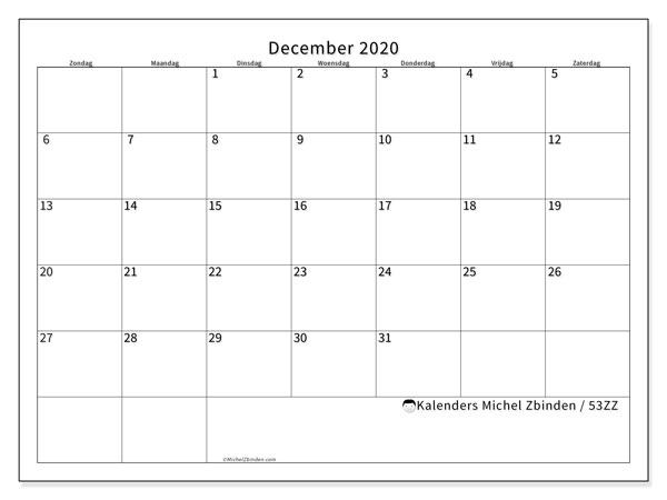 Kalender december 2020, 53ZZ. Schema om gratis te printen.