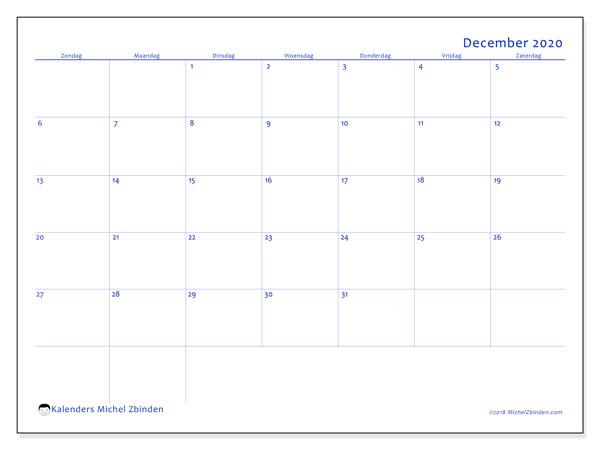 Kalender december 2020, 55ZZ. Gratis afdrukbare kalender.
