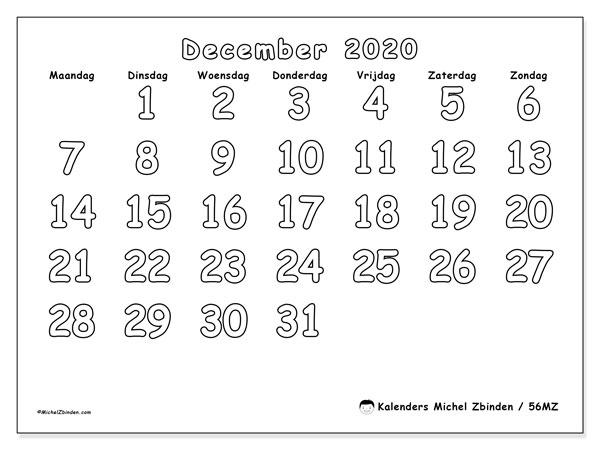 Kalender december 2020, 56MZ. Maandkalender om gratis te printen.