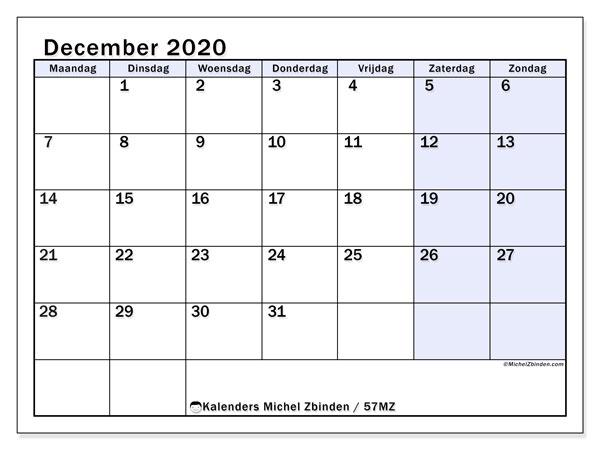 Kalender december 2020, 57MZ. Gratis afdrukbare kalender.