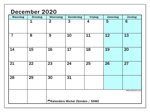 Kalender december 2020, 59MZ. Gratis afdrukbare kalender.