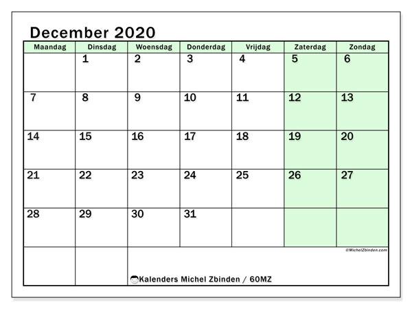 Kalender december 2020, 60MZ. Gratis kalender om af te drukken.