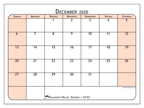 Kalender december 2020, 61ZZ. Maandkalender om gratis te printen.