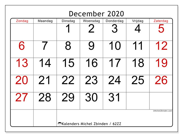 Kalender december 2020, 62ZZ. Gratis kalender om af te drukken.