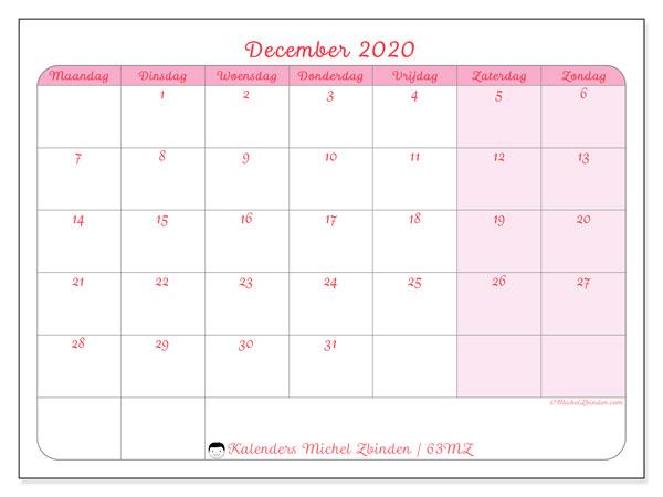 Kalender december 2020, 63MZ. Agenda om gratis te printen.