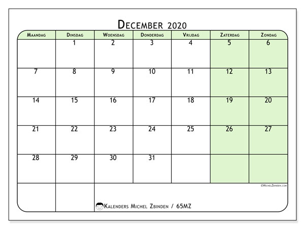 Kalender december 2020, 65MZ. Gratis printbare kalender.
