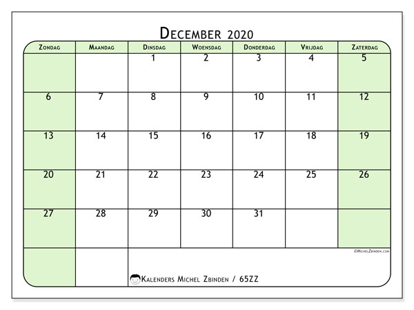Kalender december 2020, 65ZZ. Maandkalender om gratis te printen.