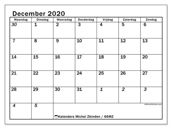 Kalender december 2020, 66MZ. Agenda om gratis te printen.