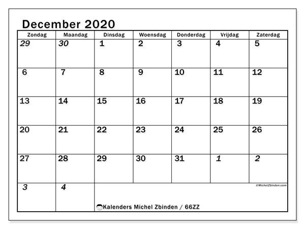 Kalender december 2020, 66ZZ. Maandkalender om gratis te printen.