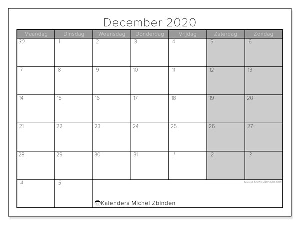 Kalender december 2020, 69MZ. Agenda om gratis te printen.