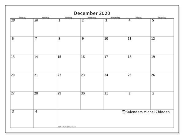 Kalender december 2020, 70ZZ. Gratis kalender om af te drukken.
