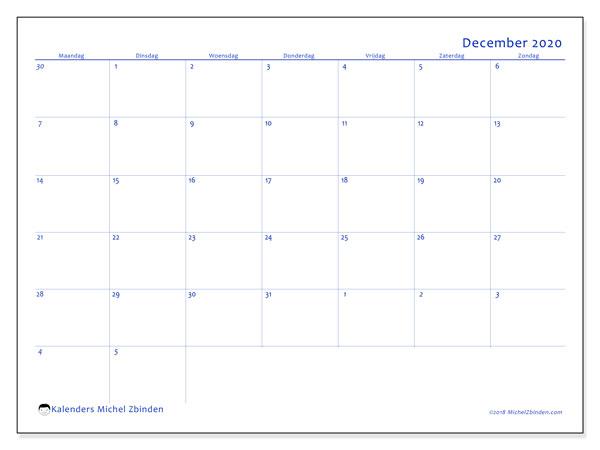 Kalender december 2020, 73MZ. Kalender voor de maand die gratis moet worden afgedrukt.