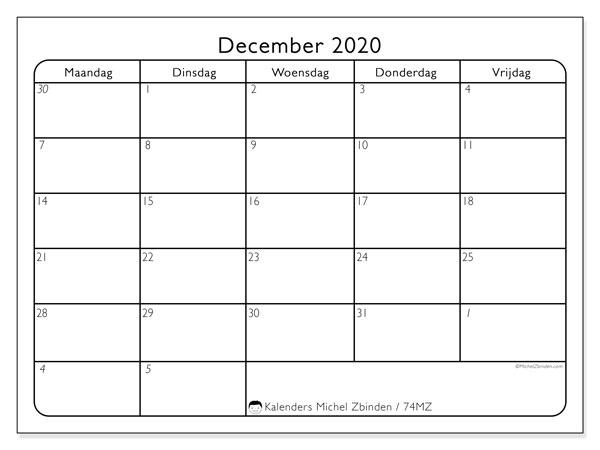 Kalender december 2020, 74MZ. Gratis printbare kalender.