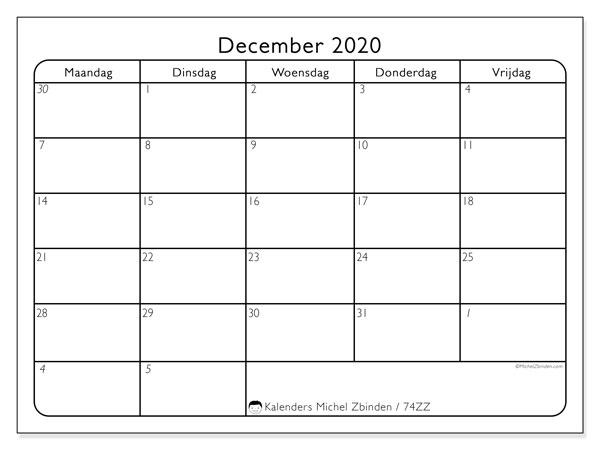 Kalender december 2020, 74ZZ. Kalender voor de maand die gratis moet worden afgedrukt.
