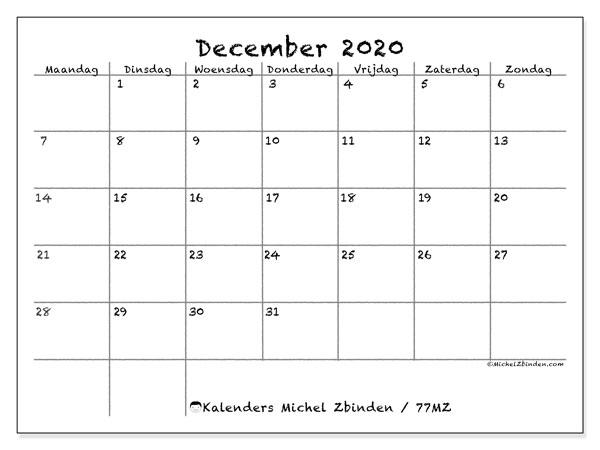 Kalender december 2020, 77MZ. Gratis kalender om af te drukken.