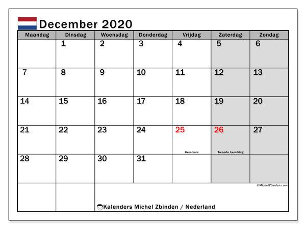 Kalender december 2020, met feestdagen in Nederland. Kalender om gratis te printen met feestdagen.