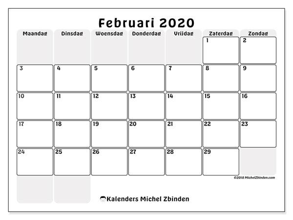 Kalender februari 2020, 44MZ. Kalender voor de maand die gratis moet worden afgedrukt.