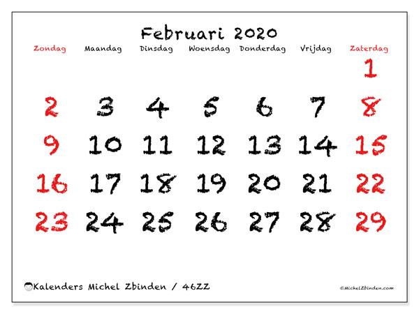 Kalender februari 2020, 46ZZ. Kalender voor de maand die gratis moet worden afgedrukt.