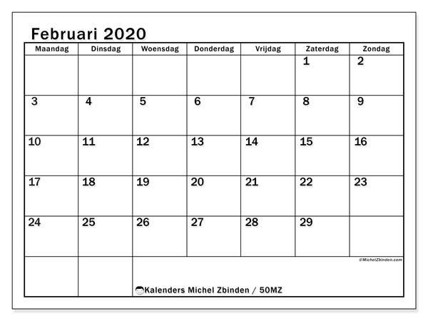 Kalender februari 2020, 50MZ. Kalender voor de maand die gratis moet worden afgedrukt.