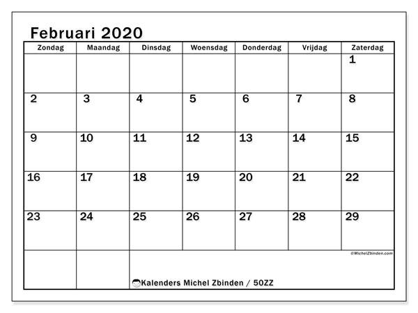 Kalender februari 2020, 50ZZ. Gratis kalender om af te drukken.