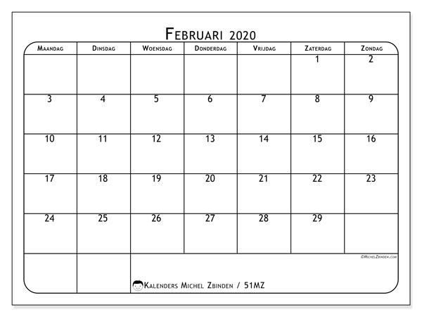 Kalender februari 2020, 51MZ. Schema om gratis te printen.