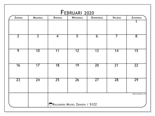 Kalender februari 2020, 51ZZ. Gratis printbare kalender.