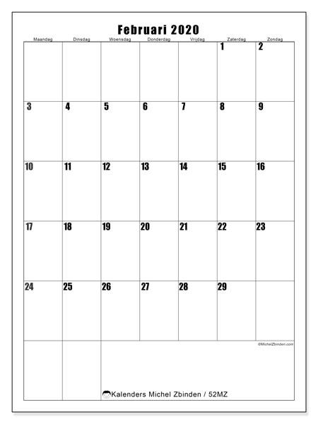 Kalender februari 2020, 52MZ. Kalender om gratis te printen.