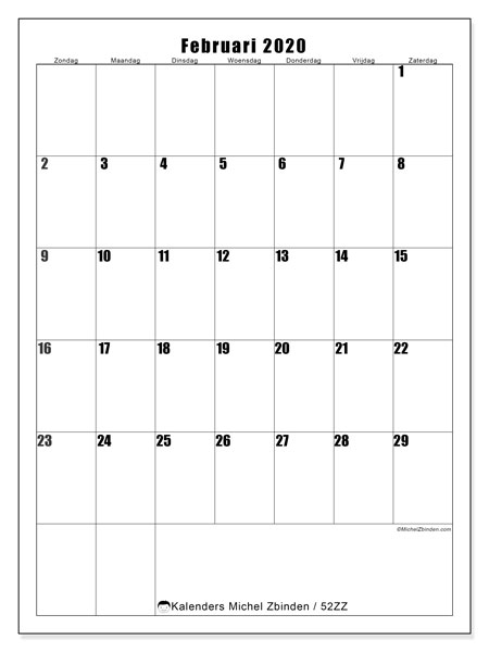 Kalender februari 2020, 52ZZ. Gratis kalender om af te drukken.