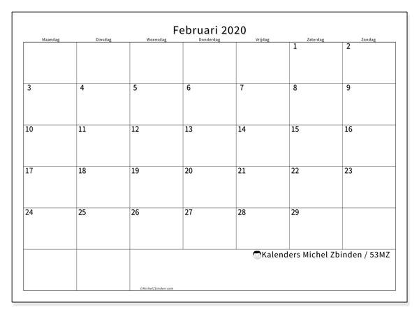 Kalender februari 2020, 53MZ. Schema om gratis te printen.