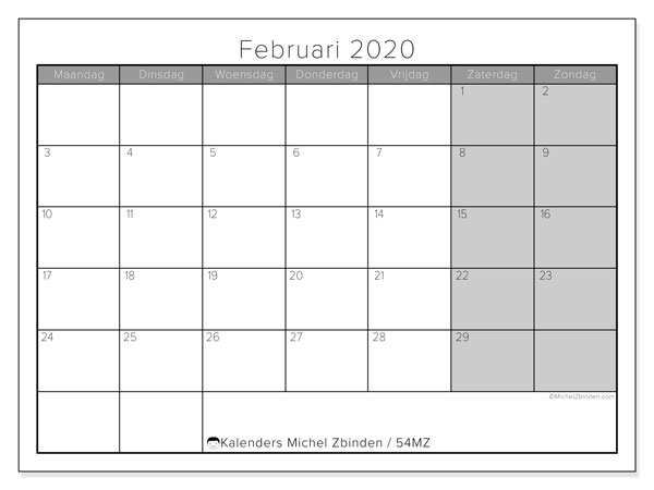 Kalender februari 2020, 54MZ. Kalender om gratis af te drukken.