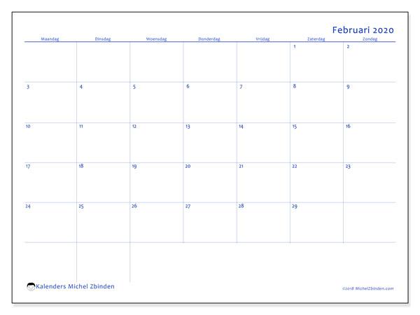 Kalender februari 2020, 55MZ. Kalender om gratis af te drukken.