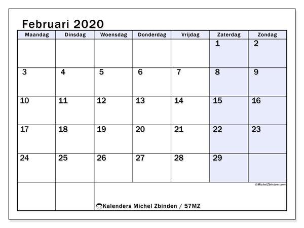 Kalender februari 2020, 57MZ. Agenda om gratis te printen.